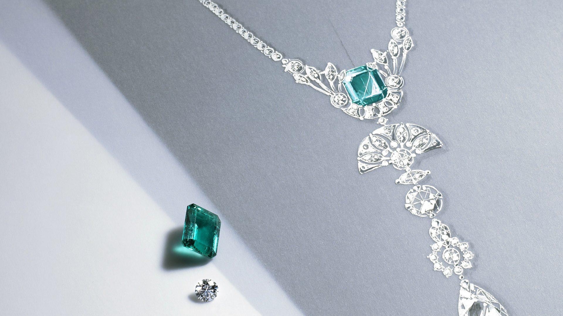sautoir diamant emeraude